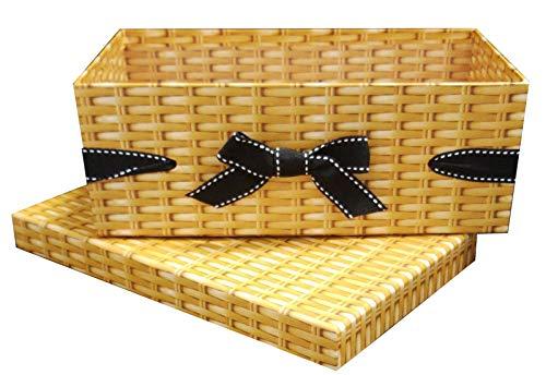 Caja fuerte de mimbre con tapa de cartón cesta de regalo – Caja de presentación de lujo con cinta