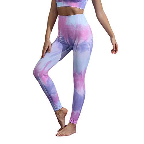 BLACK ELL Leggings para Running Training,Nuevos Pantalones de Yoga sin Costuras, Ropa de Yoga de Secado rápido Tie-Dye-Purple_S