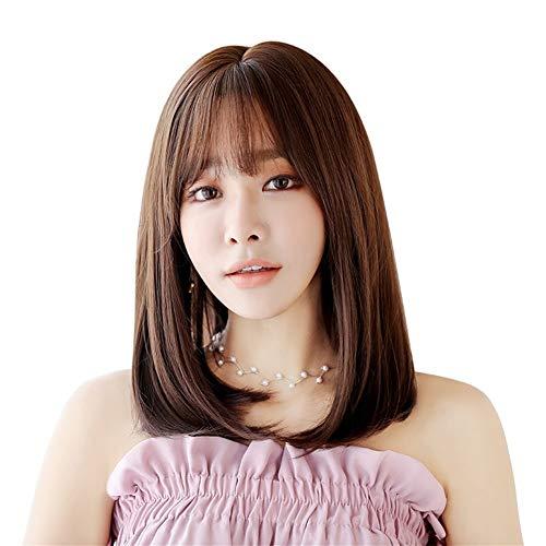 WANGZHI Pruik vrouwelijke nieuwe lange rechte haar gesp echte mode mode vezel pruik nep pruik Honing pudding 45CM