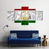 Bild auf Leinwand - Leinwandbilder Wehende Flagge von Tadschikistan Wandkunst Malerei Leinwand Kunstwerk Dekoration Bild fertig auf Keilrahmen !