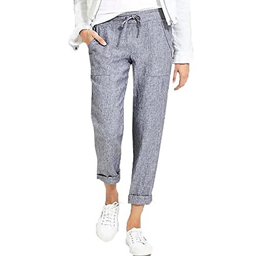 Pantalones Casuales De Talla Grande De Color SóLido De Moda De Primavera Y Verano para Mujer Pantalones Rectos De AlgodóN Y Lino con CordóN