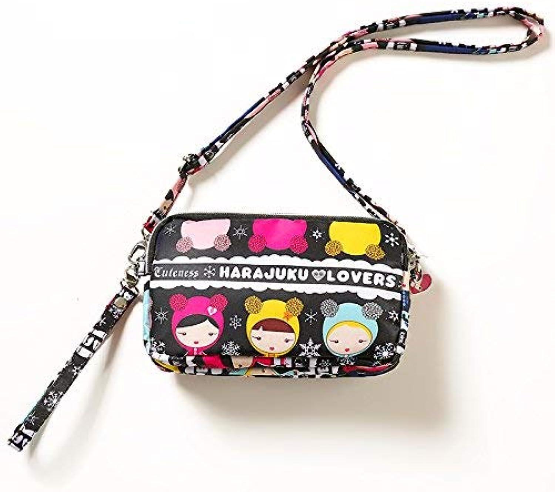 Girls Purse Small Bag Satchel Bag Mobile Phone Bag Three Zipper Large Capacity Zero Wallet Mini Mobile Phone Bag (color   Snowflake Dolls)