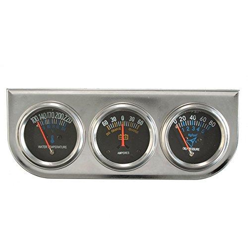 YONGYAO Voiture Auto Meter Trio Ampèremètre Eau Temp Huile Manomètre Mécanique Sliver