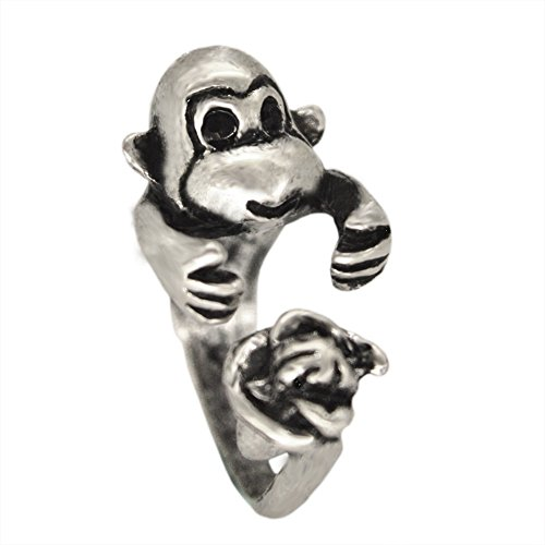 Monkey With Banana Animal Ring Gift for Women Men Girls Finger Boho Chic Unique Anillos Bague Bijoux Fashion Jewelry (Antique Silver Plated)