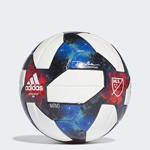 adidas MLS Mini Soccer Ball, White/Black/Bold Blue/Active Red, Size 1