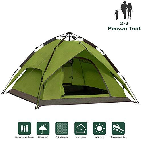 IPOTEK Wurfzelt 2-3 Person Sekundenzelt Outdoor Camping pop-up Zelt 240x210x135cm (Grün)