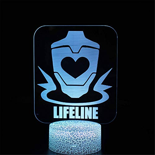 Lámpara LED de ilusión 3D Apex Legends Lifeline Luz de noche de bebé 16 colores cambiantes, decoración de la habitación, regalo único de cumpleaños de Navidad para niñas y niños pequeños