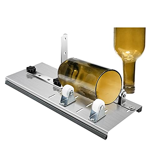KKmoon Cortador de Vidrio Botellas Kit de Cortador de Botellas de Vidrio Ajustable Juego de Máquina de Cortar de Acero Inoxidable para Vino, Cerveza, Licor, Whisky, Champán