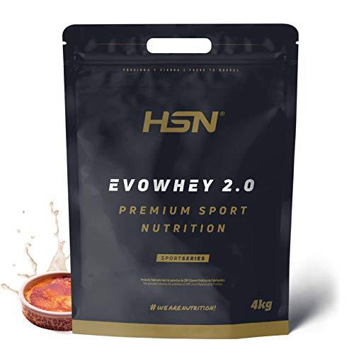 Whey Protein Concentrate de HSN Sports | Concentrado de Proteína de Suero Evowhey Protein 2.0 | Batido de Proteínas en Polvo, Vegetariano, Sin Gluten, Sin Soja, Sabor Crema Catalana, 4Kg