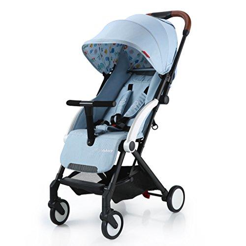 Kinderfiets HAIZHEN Baby Push Ultralight Kan Zitten/liggen Opvouwbare Baby Vervoer Pas Zonnescherm Awning Anti-UV Zonbescherming EVA Schuim Schokdemper Tire Trolley 60 * 41 * 103cm voor pasgeborene