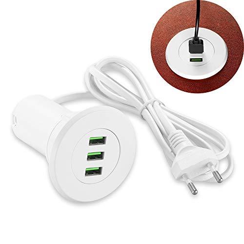 OurLeeme Grommet Desk Fit, 3 Puertos USB Mesa Hub 3.1A Montaje en el Escritorio Cargador USB Carga rápida con un Cable de 1.4 m para la mayoría de los teléfonos (Blanco)