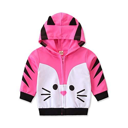 HDUFGJ Kleinkind Kinder Unisex Baby Junge Mädchen Mantel Mit Hooded Sweatshirt Strickjacke Tiermodellierun Pullover Outwear 90(Rosa)