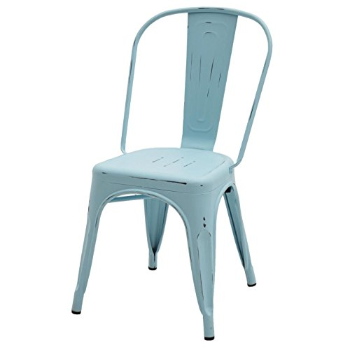 ARREDinITALY - Juego de 2 sillas Industrial Tolix – Réplica de Metal Azul Envejecido