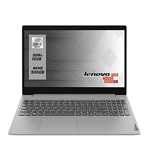 Notebook Lenovo silver Intel i5 di 10th Pc portatile,SSD Nvme 500Gb,Ram 12Gb Ddr4,Display Full Hd da 15,6 Antiglare, webcam,Win10 Pro,Pronto All'uso