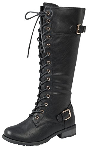 Forever Link Mango 27 Womens Knee High Buckle Riding Boots,Black,8.5