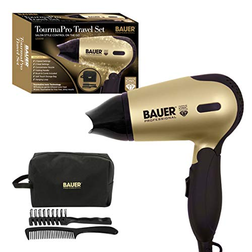 Bauer Professional 38850 TourmaPro Travel Set / Compact 1200W Hair Dryer With Soft Touch Carry Case, Hairbrush & Comb / 2 Heat & Speed Settings / Tourmaline Ionic Technology