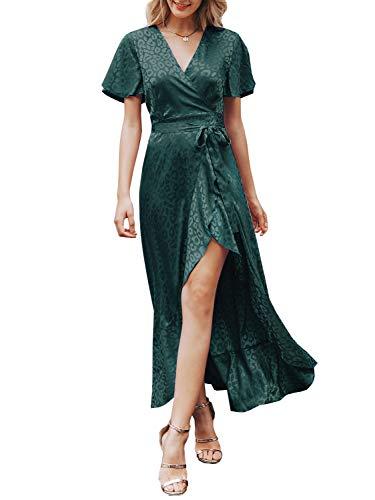 Miessial Women's Boho Leopard V Neck Ruffle Maxi Dress Summer Long Beach Wrap Dress Dark Green 14