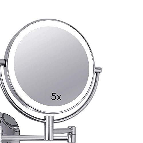 XYSQWZ Makeup Mirror Led 8 Inch Fill Light Double-sided 5x Magnifying Mirror Lighted (color : Silver Size : 8 Inches 5x)