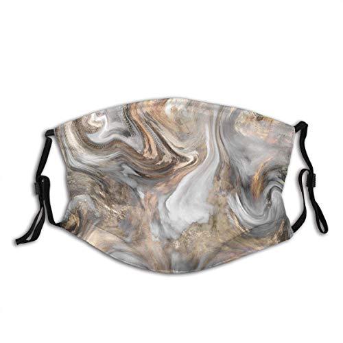 Protector facial protector bucal de mármol estilo retro pincel colores en textura de mármol, obras de arte de acuarela, arena, marrón, polvo, gris pálido, bucal, bandanas con 2 filtros
