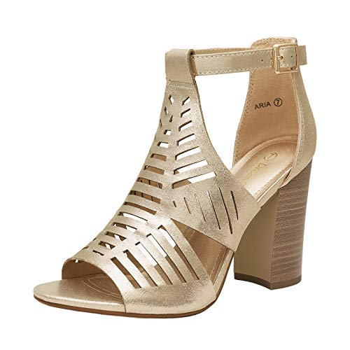 DREAM PAIRS Women's Gold Pearl Open Toe Ankle Strap High Chunky Stacked Heel Sandals Cutout Dress Shoes Size 8 B(M) US Aria
