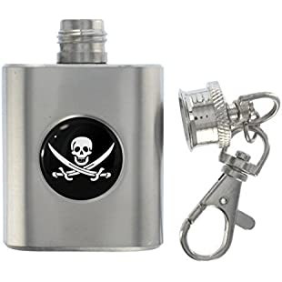 1StopShops Jolly Roger Flag Metal Miniature Flask Keyring