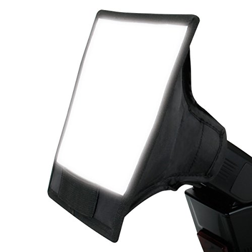 Dual Bounce Softbox Flash Diffuser with Elastic Strap Connection for External Speedlites by USA Gear - Works with Canon, Fujifilm, Nikon, Olympus, Pentax, Sony and More Cameras
