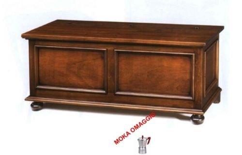 CLASSICO cassapanca in legno massello tinta noce per soggiorno salotto 535 120x44x51