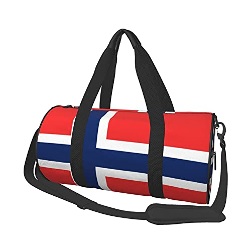 Bolsa de deporte multifunción para gimnasio, unisex, bolsa de lona de gran capacidad, bandera, bandera de Noruega