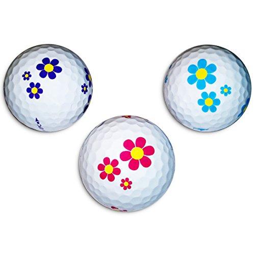 Vision-Goker 6 Golfbälle Bunt Daisy - Design Distance Lady Soft Lustig ideales Golf Geschenk für Frauen (lila-hellblau-pink)