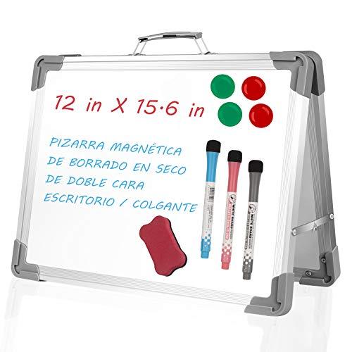 StillCool Pizarras Magnéticas, 12 × 15,6 in Pizarra Plegable para Niños Doble Lados con 3 Bolígrafos 4 Imanes y 1 Borrador Magnético para Escribir Dibujar Escuela Oficina y Tienda
