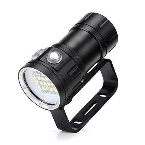 eecoo Diving Flashlight, 18000 Lumen IPX8 Waterproof Diving Torch Scuba Dive Lights 500M 7Modes 120 Degree Wide Beam Angle Underwater LED Flashlight for Outdoor Under Water Sports