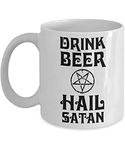 Salve Satanás Beber Cerveza Jarra Dios Católico Divertido Jesús Tazas de Café Taza de Té Madres Día del Padre adicto a la cerveza