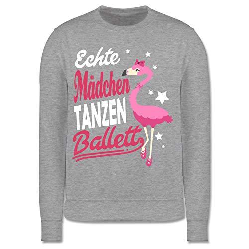 Sport Kind - Echte Mädchen tanzen Ballett Flamingo - 140 (9/11 Jahre) - Grau meliert - Spruch - JH030K - Kinder Pullover