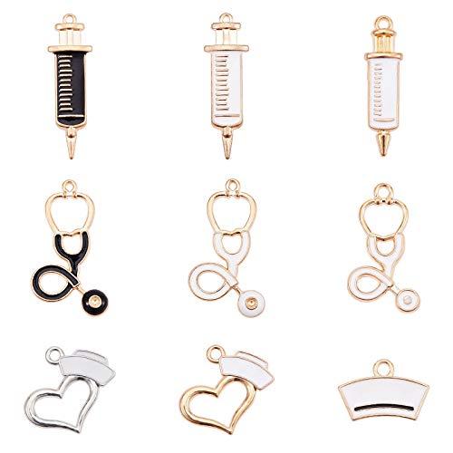 PandaHall 7 forme infermiera medica pendenti stetoscopio iniezione siringa infermiera berretto cappello cuore infermiera giorno tema 38 pz ciondoli smaltati per collana braccialetto orecchini gioielli