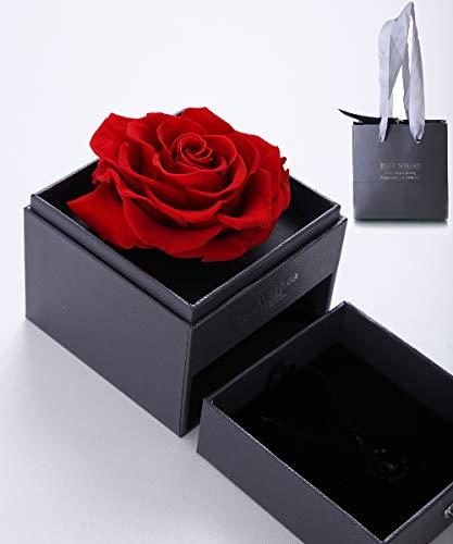 huaao Rosa eterna Flores preservadas Hecho a Mano Rosa Bella y la Bestia con Caja, Regalo para Ella y San Valentin Bodas Aniversario cumpleaños para Mujer Novia y Madre