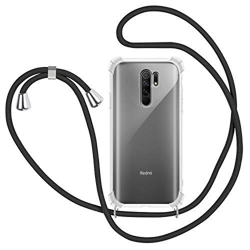 SAMCASE Funda con Cuerda para Xiaomi Redmi 9, Carcasa Transparente TPU Suave Silicona Case con Correa Colgante Ajustable Collar Correa de Cuello Cadena Cordón - Negro