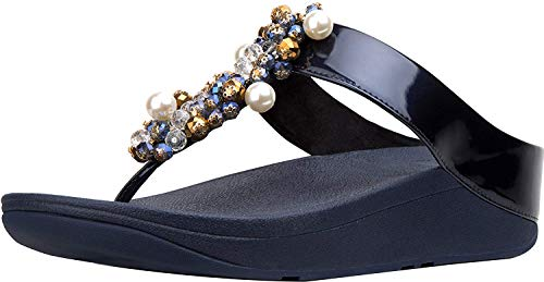 FitFlop Women's Deco Leather Toe-Post Sandals Wedge, Midnight Navy, 9