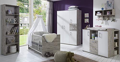 Babyzimmer Bente in Eiche Sand und Weiß 7 teiliges Megaset mit Schrank, Bett mit Lattenrost und Umbauseiten, Wickelkommode und Regalen