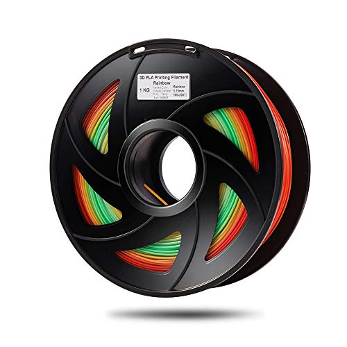 without YXA-3DM, PLA Color Changing Rainbow 3D Printing Material Multicolor 3D Printer Filament 1.75mm 1kg Spool Color Random Delivery