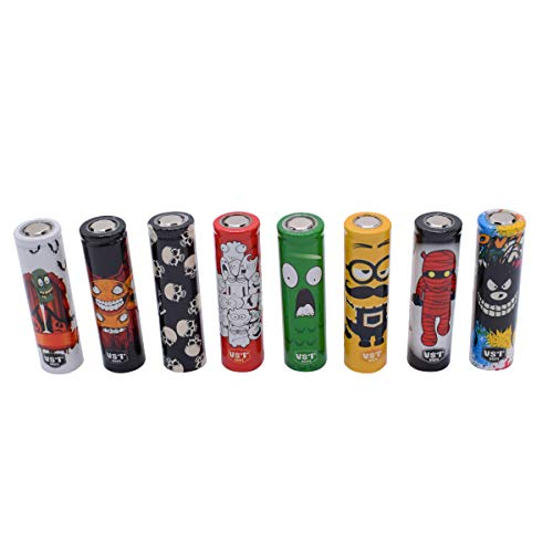 50PCS 18650 Pre Cut Cartoon Series Battery Protective Wraps Cover, Sleeves Heat Shrink PVC Tubing Tubes Shrink Film 8 Styles Replacement Cover Skin
