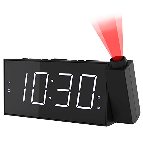 """Projection Alarm Clock for Bedroom, LED Digit Clock Projection on Ceiling with Large 7"""" LED Display & Dimmer,180°Projector,USB Charging and Battery Backup for Heavy Sleepers Kids, Elders"""