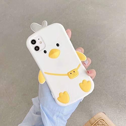 SevenPanda für iPhone X Hülle Rucksack Ente, 3D Karikatur Kawaii Duck mit Niedlichen Gleiches Anhänger Silikon Kasten Abdeckung für iPhone 10 iPhone XS 5.8 Zoll - Weiß