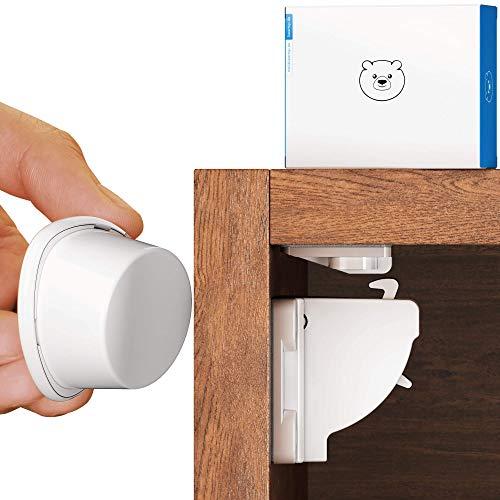 premium magnetische Schubladen- /Schranksicherung Kindersicherung von BEARTOP | bombenfester Halt dank Tesatape & optionalen Schrauben | inkl. Installationshilfe & Video