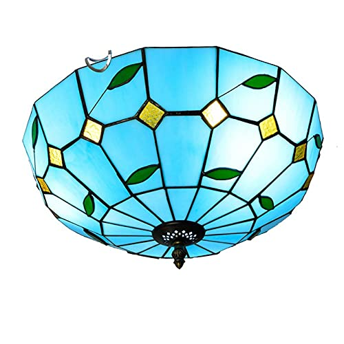 Lampada da soffitto retrò mediterranea, plafoniera a sospensione in vetro colorato in stile tiffany da 16 pollici, illuminazione a sospensione per camera da letto, cucina, balcone, 40W x 3,C