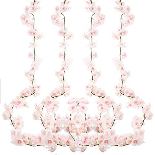 4 Piezas 180cm Guirnalda de Flores de Cerezo Artificiales Colgante Vines Flores Artificiales de Sakura Guirnaldas De Vid Colgante Flores de Seda para Familiar la Fiesta Jardín Boda Navidad Decoración
