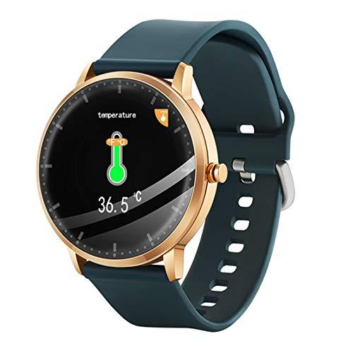 YDK Redondo Touch Smart Watch T9 Termómetro Ejercicio Monitor De Ritmo Cardíaco Pulsera Tracker Fitness Llamada Música Control Color Pantalla PK V66,A
