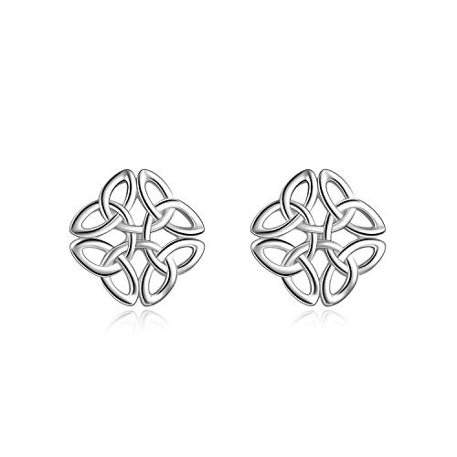 POPLYKE Celtic Knot Earrings Sterling Silver Stud Earrings Irish Celtic Jewellery for Women Hypoallergenic