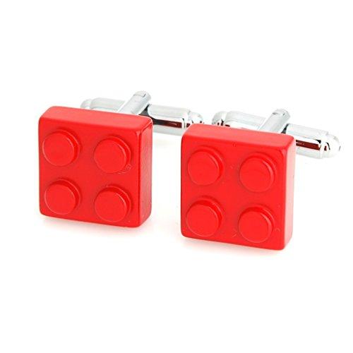 Smart Manスマートな男性目新し赤い正方形積み木カフスボタン