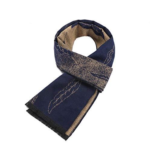 XJHN Herbst und Winter Männer Schal Imitation Kaschmir Seide gebürstet doppelseitige Blätter Jacquard Männer warm orientalische Blätter blauer Reis 180X30cm