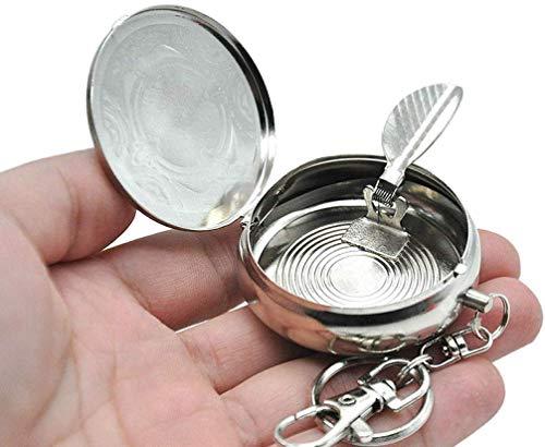 AMITD tasbeker van roestvrij staal met sleutelhanger draagbare mini-ashouder voor rokers voor gebruik binnen en buiten